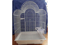 LARGE WHITE BIRD CAGE USED FOR 1 WEEK .