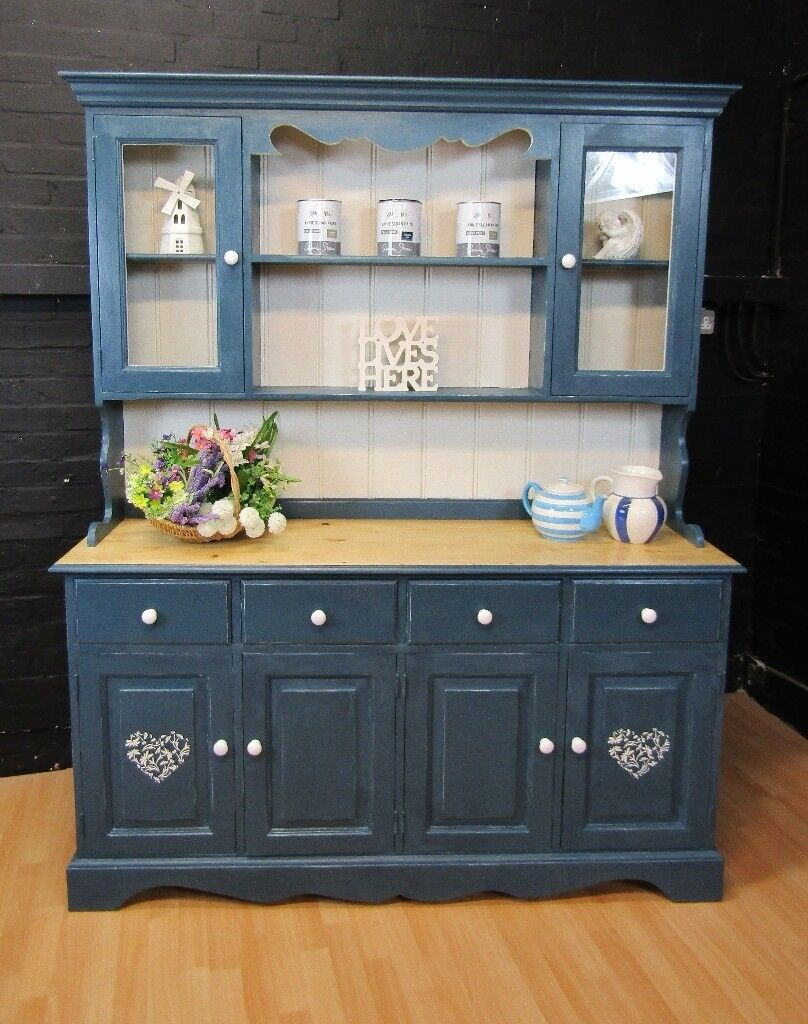 blue shabby chic furniture. Vintage Solid Pine Welsh Dresser - A SLOAN Aubusson Blue- Shabby Chic Blue Furniture N
