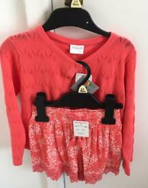 ***FOR SALE BRAND NEW GORGEOUS GIRLS CARDIGAN & SHORTS IN PEACH / CORAL***