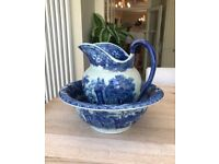 Ironstone pitcher and bowl. Blue pattern. Great condition. Collection only SW14