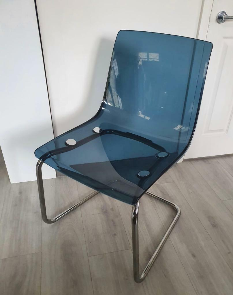 Blue Chrome Plated Dining Desk Vanity Chair Tobias Ikea In Greenwich London Gumtree