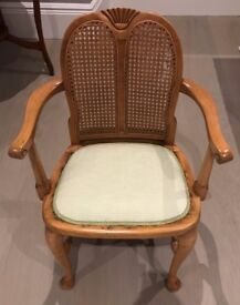 Wood and rattan chair, reupholstered
