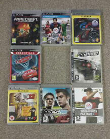 8 PS3 Playstation Games Bundle (Child Friendly Titles - Minecraft, Need For Speed, Fifa, WWE, Cars)