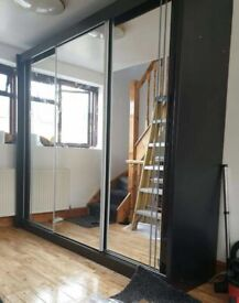 💯FAST DELIVERY-- HIGH GLOSS 2 AND 3 DOORS SLIDING WARDROBES WITH FULL MIRRORS, SHELVES, RAILS