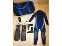 DIVING GEAR: 5mm wetsuit (M)+boots+mask/snorkel+fins+duffel bag