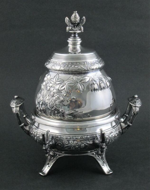OUTSTANDING! antique REPOUSSE dome top BUTTER DISH - Middletown Quadruple Silver