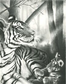 Original artwork of Tiger and Cub in the early morning light