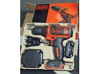 NEW Black & Decker 10.8v Drill/Driver with (2 Year Guarantee) and 200 Black and Decker accessories