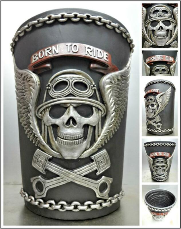 BIKER MOTORCYCLE Born To Ride WASTEBASKET Skull & Wings DECORATION Unique Gift