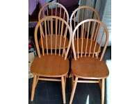 4 wooden dining chairs In used but decent condition.