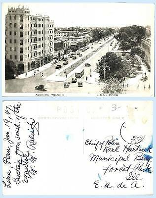 Aerial View Avenida Wilson Lima Peru 1947 RPPC Real Photo Postcard Architecture