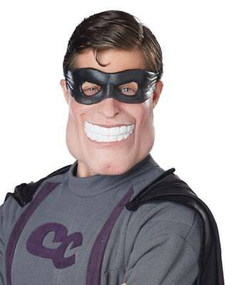 Funny Super Dude Latex Half Mask Super Hero Adult  Halloween Costume Accessory - Funny Super Hero Costume