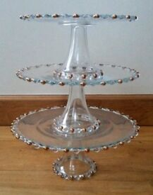 NEW 3 Tier Trio Cake Stand: S M & L Ornate Clear Glass Gold Bead Wedding Patisserie Cafe/ CHRISTMAS