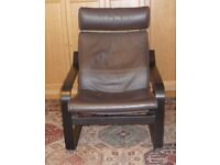 Ikea Poang chair. black-brown with brown leather