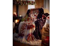 Christmas throw blanket snuggle snowman bedroom sofa