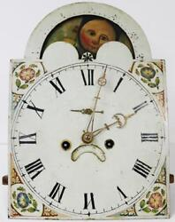 Antique Grandfather Clock Moon-Roller Longcase Movement & Painted Dial Serviced