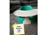 Green Bumbo and tray