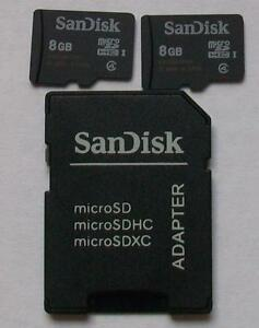 BUNDLE: 2x8GB, Class 4, SanDisk Micro SD Cards Plus Adapter