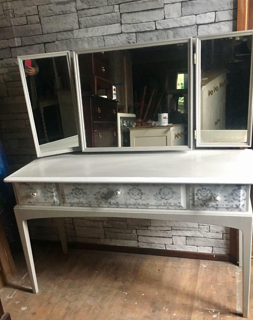 3 drawer stag minstrel dressing table & mirrors.Upcycled