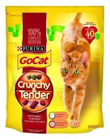 Purina Go-Cat Dry Cat Food Crunchy & Tender Beef, Chicken & Veg 800g
