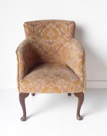 Queen Anne style tub chair upholstered