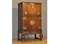 Attractive Tall Small Vintage Oak Fall Front Cocktail Cabinet Drinks Cupboard