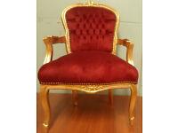 Red velvet gold frame french louis armchair