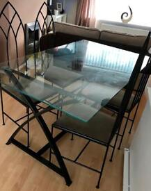 Gothic style chairs with table