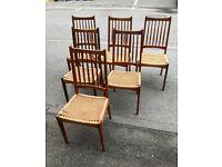 60s original Vintage Mid Century Danish Mogens Kold cord teak dining chairs x6 for restoration
