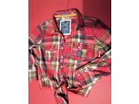 Womens Official Superdry Tie Front Check Shirt (Size - X Small)