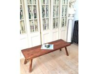 RETRO RUSTIC SOLID WOOD PLANK TOP COFFEE TABLE / BENCH