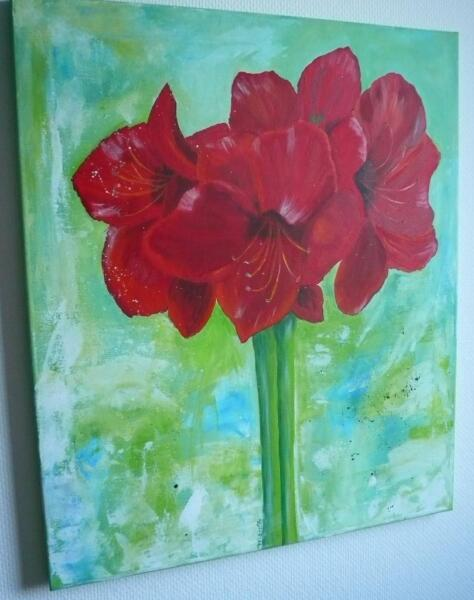 acrylbild amaryllis in niedersachsen l neburg ebay kleinanzeigen. Black Bedroom Furniture Sets. Home Design Ideas