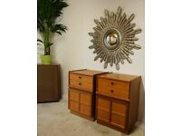 Price includes delivery for East London Pair of Nathan Bedside Cabinets Drawers Tables Teak