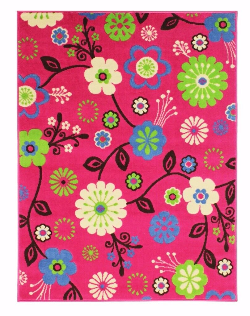 Lovely Bold Pink Flowery Rug, 2 sizes