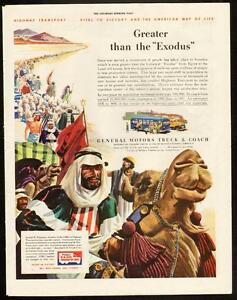 1943 full-page color print ad - General Motors Trucks- Exodus