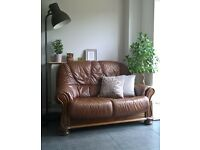 BARGAIN !! Old, ornamental, antique looking Brown Leather Sofa