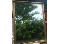 Very Large Overmantle Mirror (gilt frame, bevelled glass edge)