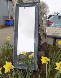 Small Painted Shabby Chic Grey Narrow Wall Mirror