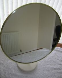 Vintage Retro 1970s MFI Circular Freestanding Dressing Table/Bathroom Swivel Mirror