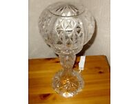 Vintage Antique Cut Crystal Round Dome Shade Table Lamp