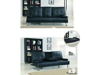 Brand New Leather Sofa Bed - 3 Seater Sleeper with Drink Cup holder in Black & Brown Color Sofabed