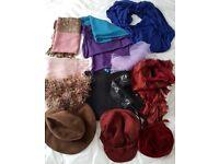 Large bundle of scarves, shawls & hats
