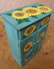 Set of 3 Sunflower painted trinket storage