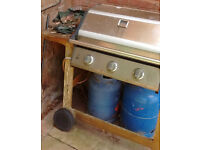 Barbecue, gas, used, with two butane gas cylinders