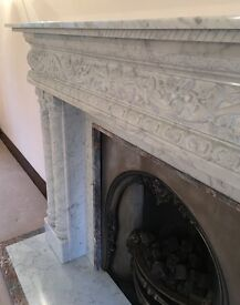 Acquisitions of London Grey Marble Fireplace with Fire Grill.