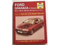 HAYNES MANUAL 1245 FOR FORD GRANADA & SCORPIO