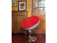 retro chic 60s style chrome & white tub chair with red faux leather seat