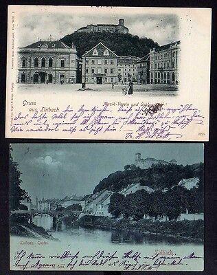 91945 2 AK Ljubljana Laibach 1898 Castel Schloss Musikverein Geschäftshaus Kastn