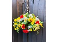 Artificial flower Hanging Baskets complete