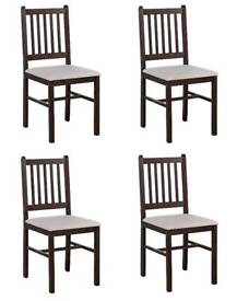 LEON WALNUT DINING CHAIRS x 4 (brand new and boxed)